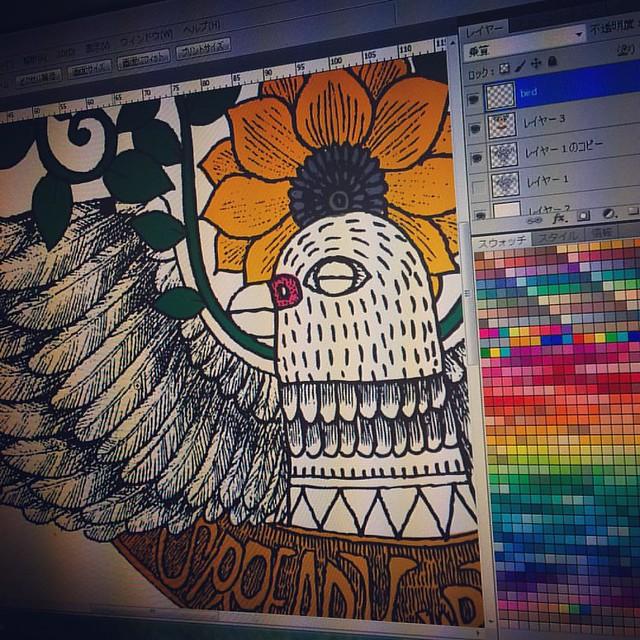 Start coloring :) #instart #instaart #ink #digital #photoshop #bird #ink #tattoo #design #illustration #art #artist #cool #color #design