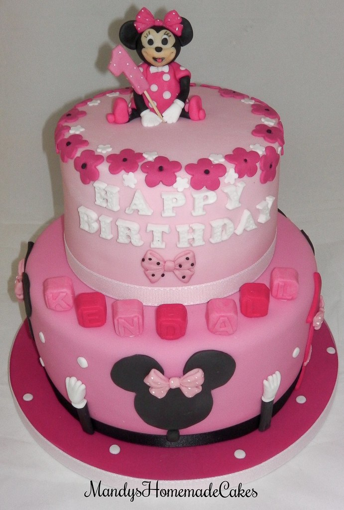 Minnie Mouse 2 Tiered Pink Girly Birthday Celebration Cake