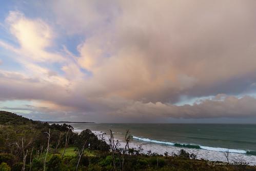 ocean sunset sea sky seascape storm beach water clouds landscape coast rocks australia coastal nsw newsouthwales 2015 yuraygirnationalpark diggerscamp sonya7r janetteasche