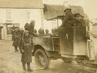 Military carrying out official reprisal following an ambush in Meelin, Co. Cork