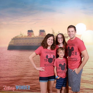 "Loved our short stayed on the ""reimagined"" Disney Wonder. Here's tyler and I and ""the kids"" 😂😂😂😂 