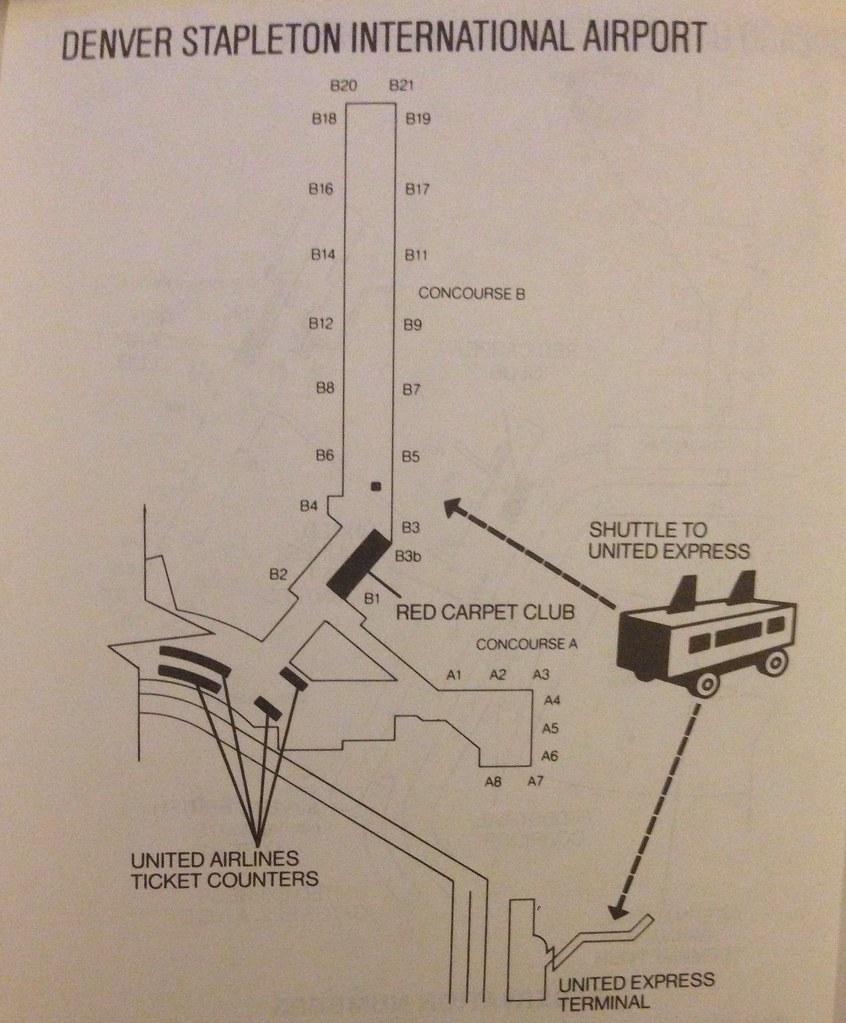 United Denver Stapleton terminal map, 1989 | A connecting ga ...