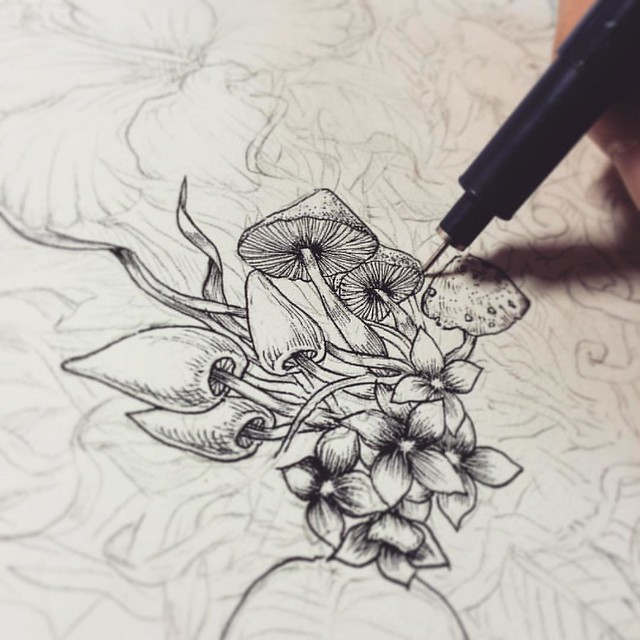 Start inking #ink #noahsart #pencil #pen #draw #doodle #dots #drawing #art #artist #artwork #artistic #mushroom #mushrooms #black #blackandwhite
