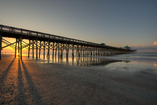 travel vacation beach sunrise pier nikon shadows outdoor southcarolina atlantic nikkor follybeach atlanticocean hdr 1635mm photomatix
