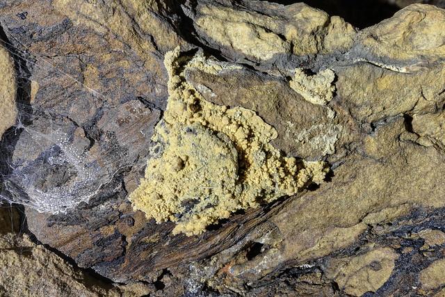 Elemental sulfur, Side Cave, Big South Fork NRRA, Fentress County, Tennessee