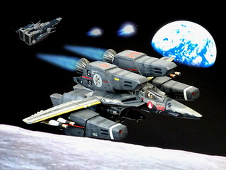 Macross +++ 1:100 Stonewell/Bellcom VF-1JS 'Super Valkyrie'; aircraft 'MA 200', personal mount of Flight Leader Lt. Com. Catherine Hojo of the U.N. Spacy SVF-124 'Moon Shooters' fighter squadron; 'Apollo' Lunar Base, early 2012 (ARII kit conversion) | by dizzyfugu