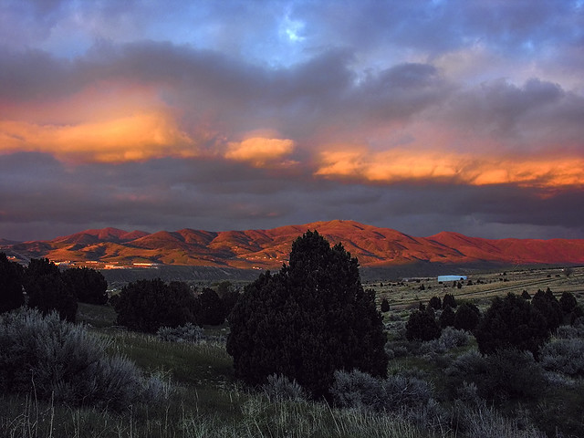 Glowing clouds above Chinese Mountain. Pocatello, ID