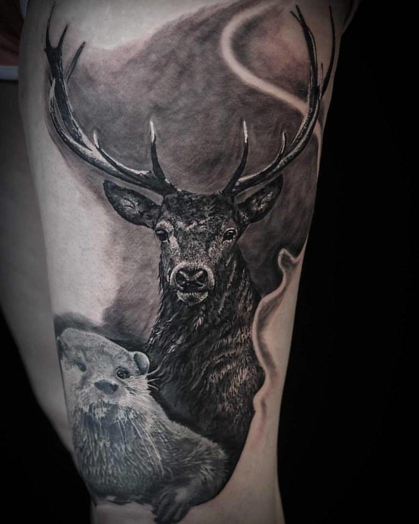 Stag Tattoo Otter Tattoo By Cosmin Raducanu Cosmin Radu Flickr