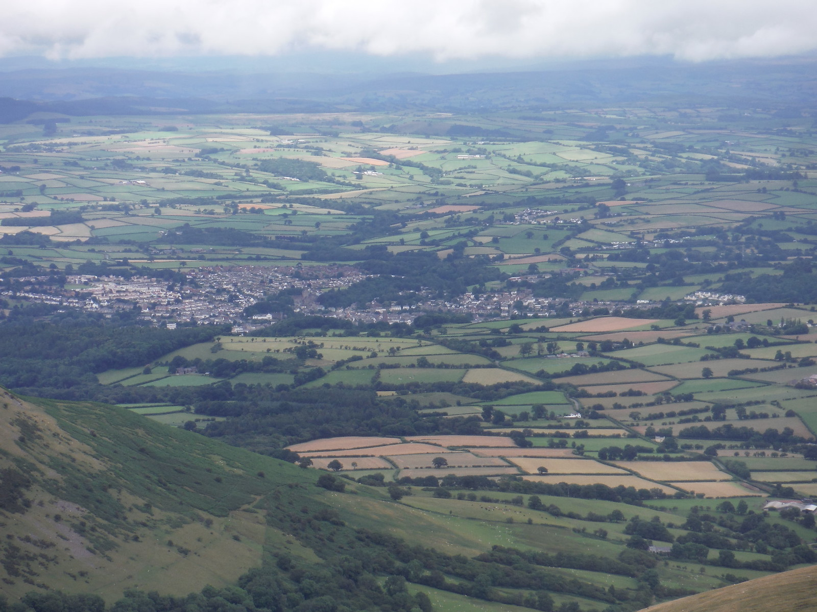 Brecon, from the Bryn Teg Descent Route SWC Walk 278 Breacon Beacons Horseshoe - Bannau Brycheiniog