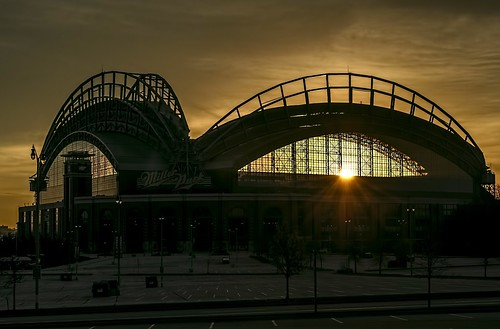 brewers baseball millerpark milwaukee mlb usa d5100 nikon sadium sunrise sun