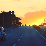 Kik #2015OKA for all series pics . 開到 #喜名 一帶 靈機一動決定開往海邊追逐#日落 🌞 一路向西狂奔🚙🌅🚙🌅💨 為了海平面的蛋黃 . #sunset #down #sun #way #road #cloud #yellow #黃昏 #sky . #沖繩 #沖縄 #沖縄県 #オキナワ #おきなわ #Okinawa #琉球 #OKA #Japan #日本