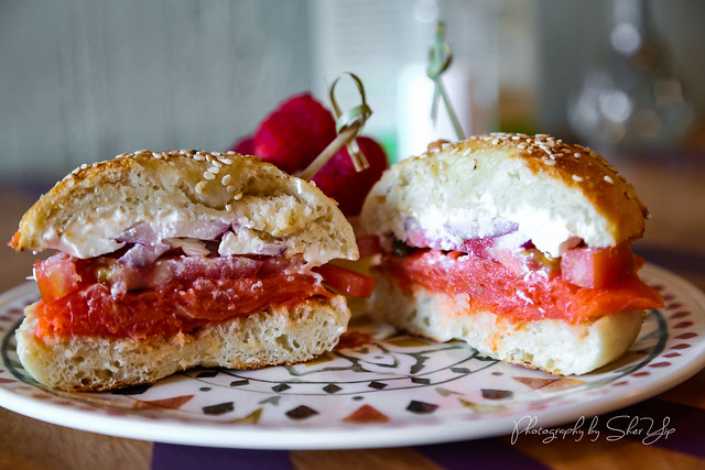 Bagel & Lox - Alaskan Salmon, Cream Cheese, Purple Onion, Tomato, and Capers - The Real Juice Bar