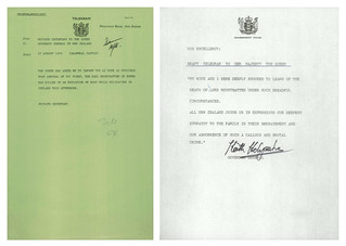 Correspondence related to death of Louis Mountbatten (1979)