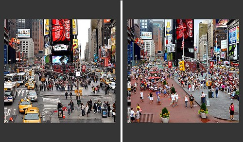 Before and After in Times Square, pedestrian-placemaking