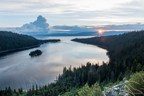 california ca morning travel light usa cloud mountain lake reflection nature weather northerncalifornia clouds forest sunrise outdoors island dawn bay us woods unitedstatesofamerica tranquility laketahoe northamerica emeraldbay southlaketahoe landscapephotography fannetteisland