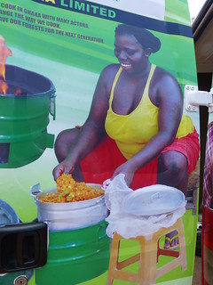 mobile advertising on the cookstove delivery fan - ghana