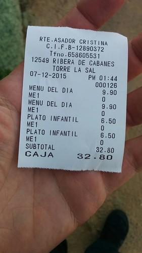 Marina d'Or Ciudad de Vacaciones   Asador Cristina   La cuenta   by moverelbigote