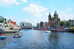 Amsterdam (View of the Basilica of St. Nicholas,from the Middentoegangsbrug)