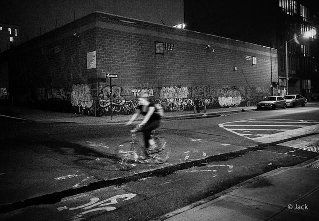 a bike in the NYC night