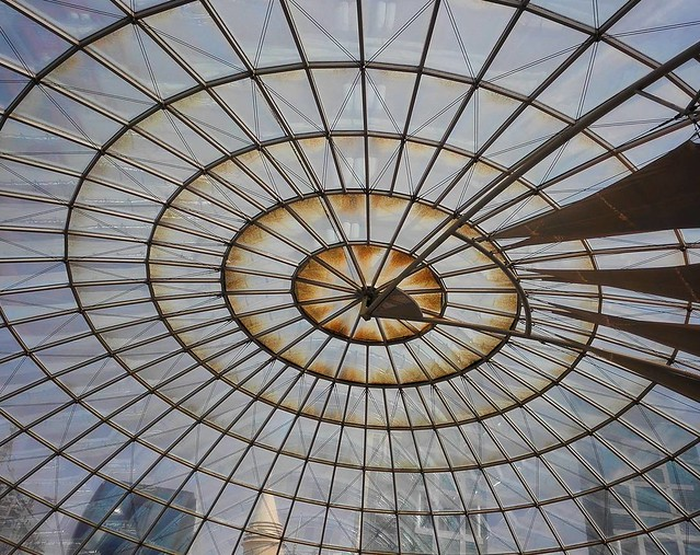 #Glass #Roof @ #CityCenter #Westbay #Doha #Qatar #Architecture #Light #Pane #Circular #Transparent #Sky #Blue #Brown #Symmetry #Centre #Huewei #Mate7 #Snapseed