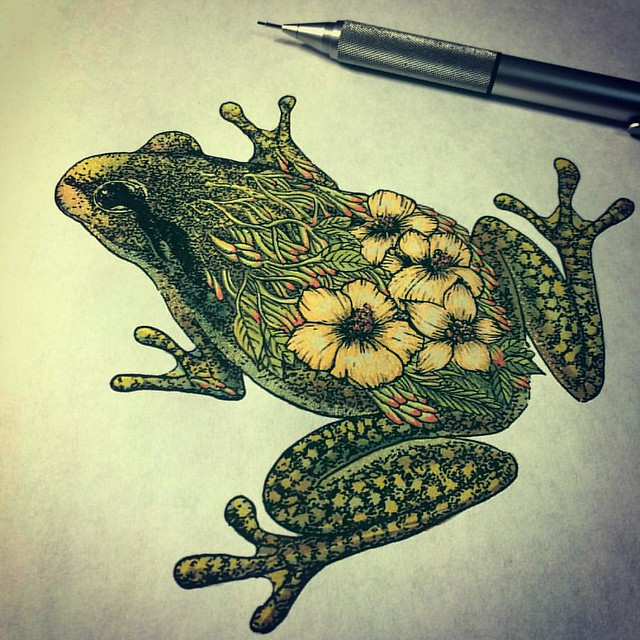 There was not enough yellow ink in my printer. :(  #frog #flower #floral #illustration #instadaily #art #illustrator #pen #instaart #instaink #instagood #drawing #cool #design #detail #dots #creative #artistic #artwork #artist