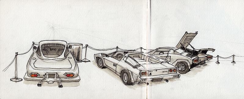 Lamborghini 350 GT (1964) · Jalpa 3500 (1981) · Countach QV (1985)