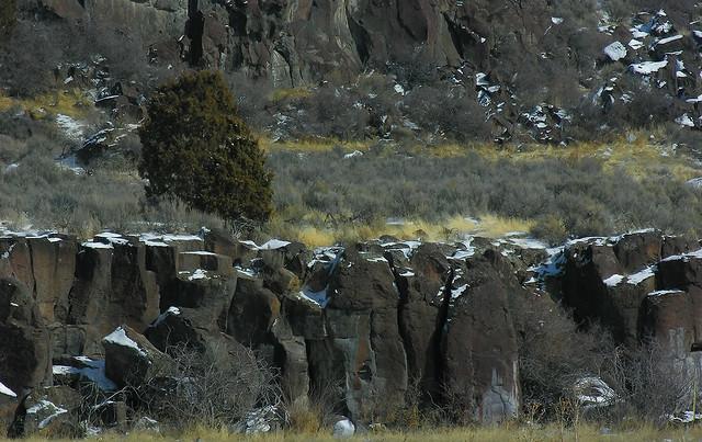 Light snow on basalt cliffs at Pocatello, Idaho
