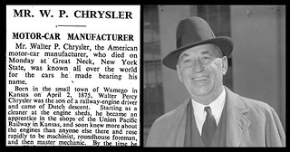 19th August 1940 - Death of Walter P. Chrysler | by Bradford Timeline