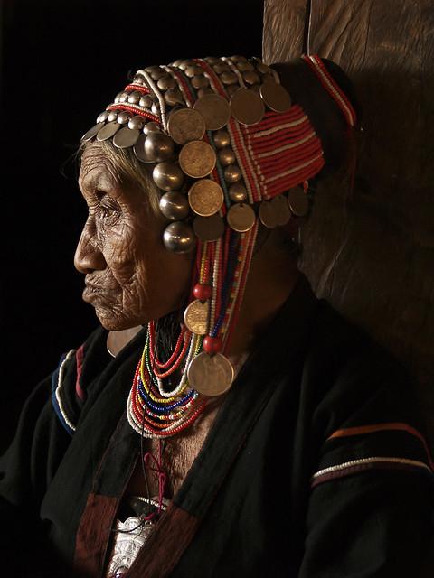 Akha old woman profile, Myanmar