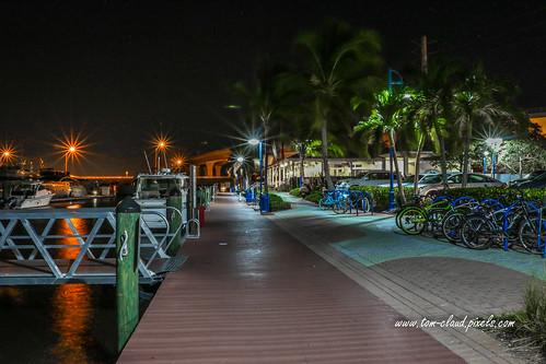 waterfront night lights boat marina boardwalk palm palmtrees trees cityscape stuart florida usa tropical