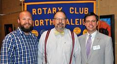 L-R: Program Chair Mike Wienold, speaker Joe Stewart and Club President Chris Morden.