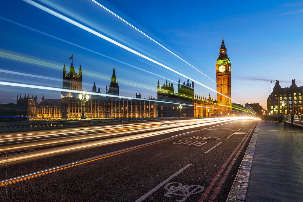 London lights on the Westminster Bridge