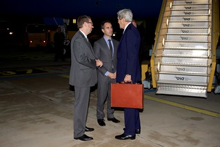 Secretary Kerry Chats With Ambassador Baer, Deputy Chief of Mission Young After Arriving in Austria for Syria Meetings