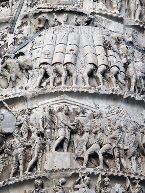 Column of Marcus Aurelius: Testudo and Submission Scene