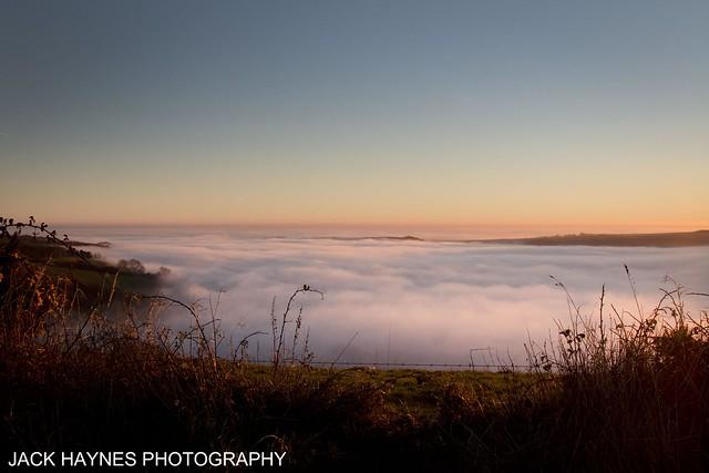 Mist over the Dorset Downs.