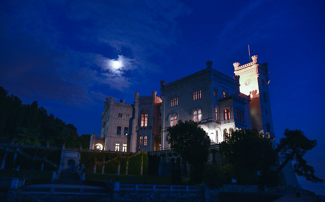 Miramare castle by night