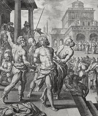 Luke in the Phillip Medhurst Collection 610 The apostles are scourged Acts 5:40 De Vos