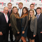 Mon, 02/11/2015 - 6:52pm - Mike 'Doc' Emrick, winner of the Vin Scully Lifetime Achievement Award in Sports Broadcasting (second from left) with WFUV Executive Sports Producer Bob Ahrens (at right in back) and members of the WFUV Sports Department.