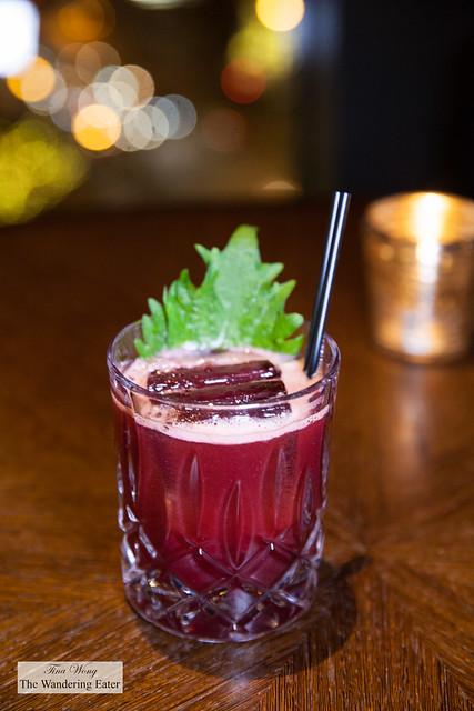Huck Ginn - Beefeater gin, huckleberry, shiso, yuzu allspice dram