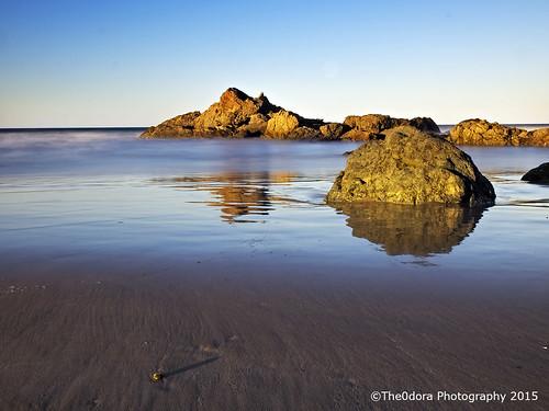 longexposure beach rocks portmacquarie beachscape olympusomdem1 the0doraphotography