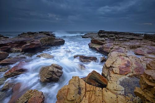 longexposure seascape rocks waves australia newsouthwales aus watermovement theblacksmith swanseaheads nikon1635mmf4 chalkybeach nikond750
