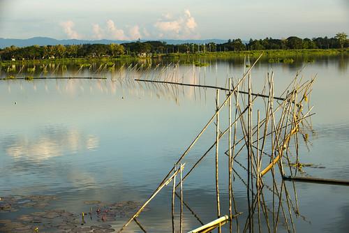 sunset lake thailand boat asia calm kwan phayao