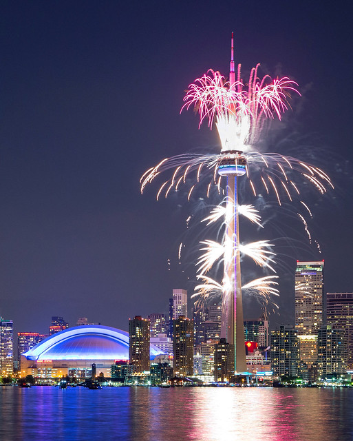 Toronto skyline and fireworks