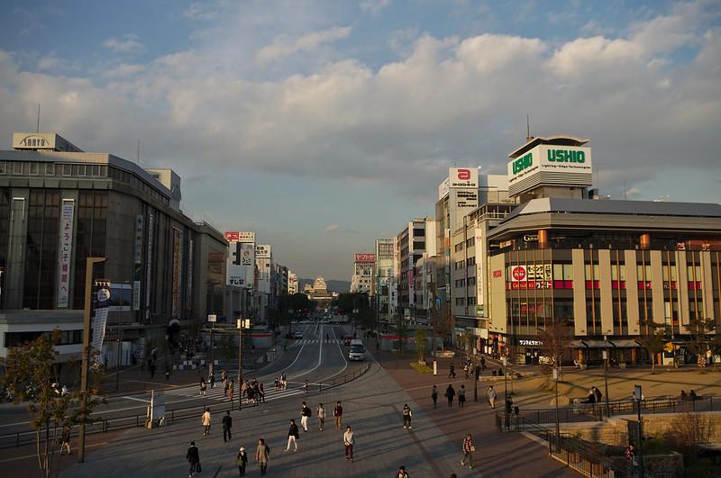 Himeji-jo depuis la gare JR