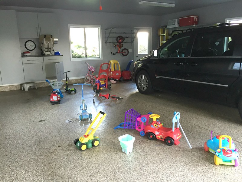 messy garage with kids toys