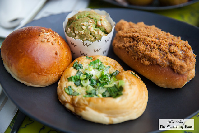 My plate of various buns and matcha muffin