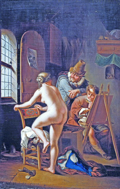 The painter and his female nude model [1690]
