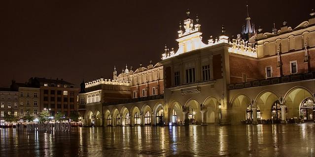 Krakow main market square lights