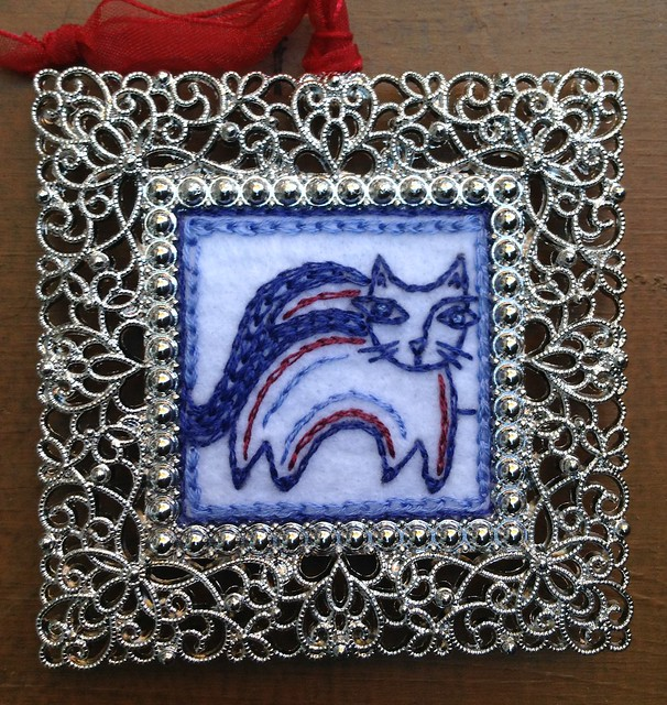 Hand embroidered ornament