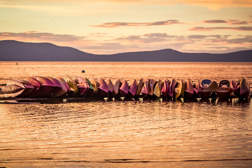 Boats at sunset on Lake Tahoe   by m01229